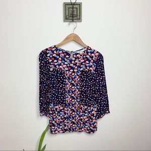 Boden Micro Floral Silk Patterned Career Blouse